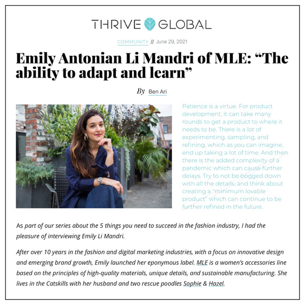 """Emily Antonian Li Mandri of MLE: """"The ability to adapt and learn"""""""