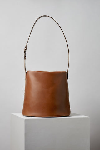 Made by MLE Leather Bucket Bag in Cinnamon Brown
