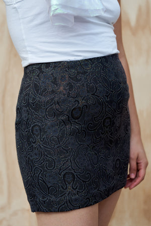 Navy Jacquard Mini Skirt