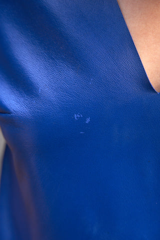 Cobalt Leather V-Neck Top