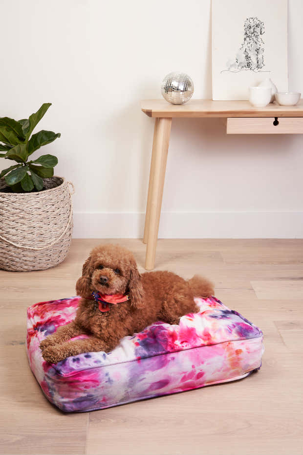 Tie Dyed Dog Bed in Berry 1