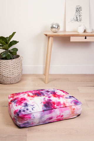 Tie Dyed Dog Bed in Berry