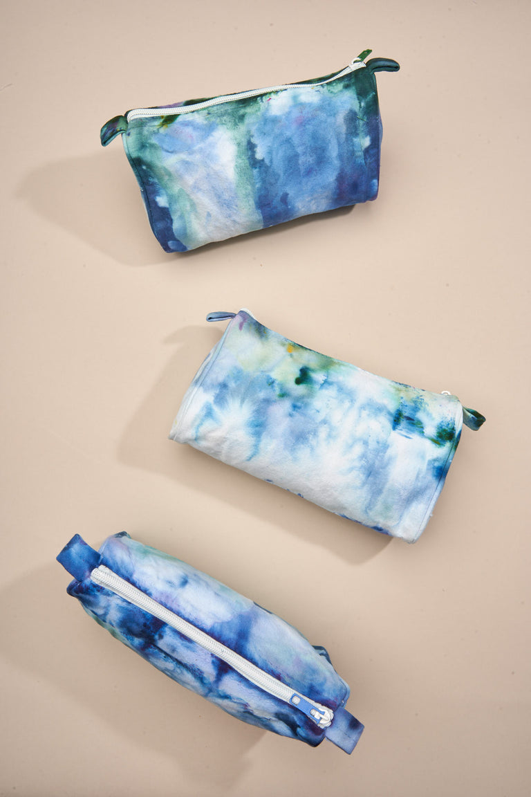 Tie Dyed Makeup Bag in Blue Rain