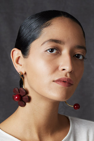 The Cerise Earrings Feature Walnut Flowers and Cherry Resin Beads