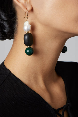 The MLE Fiore earrings featuring genuine baroque pearls
