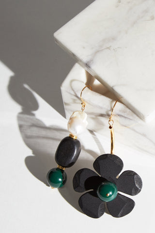 The green and black Fiore Earrings