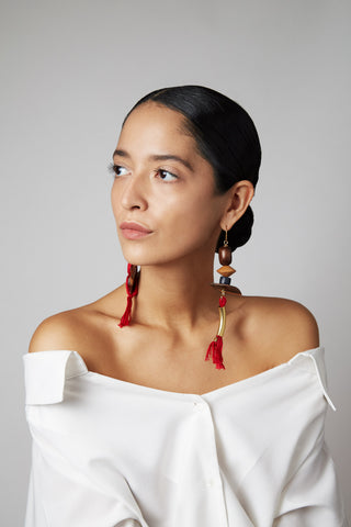 The Graziella earrings shown on model