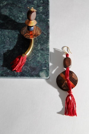 Gold-platted red and gold earrings