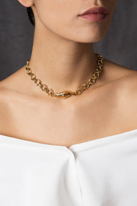 Woman wearing the Gold-plated Gentlewoman's Agreement Necklace