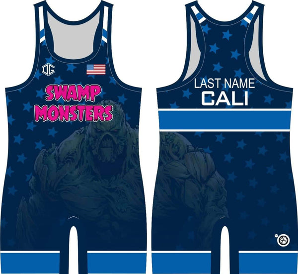 Swamp Monsters blue freestyle singlet (personalized)