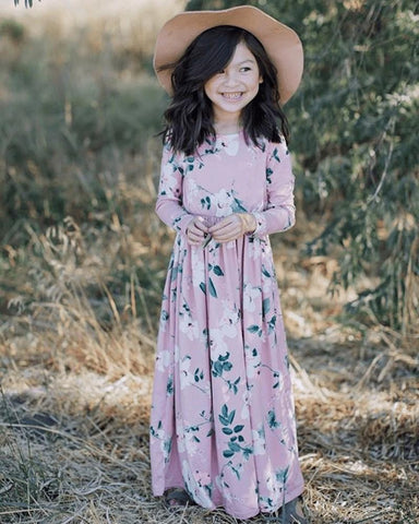 Long Sleeve Maxi Dress-Mauve Floral