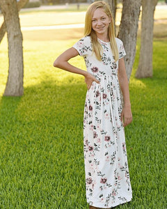 Short Sleeve Maxi Dress-Baby Pink Floral