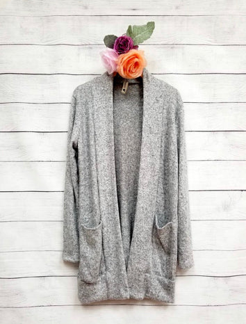 Girls Heather Grey Cardigan