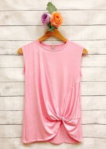 Front Tie Knot Tank-Pink