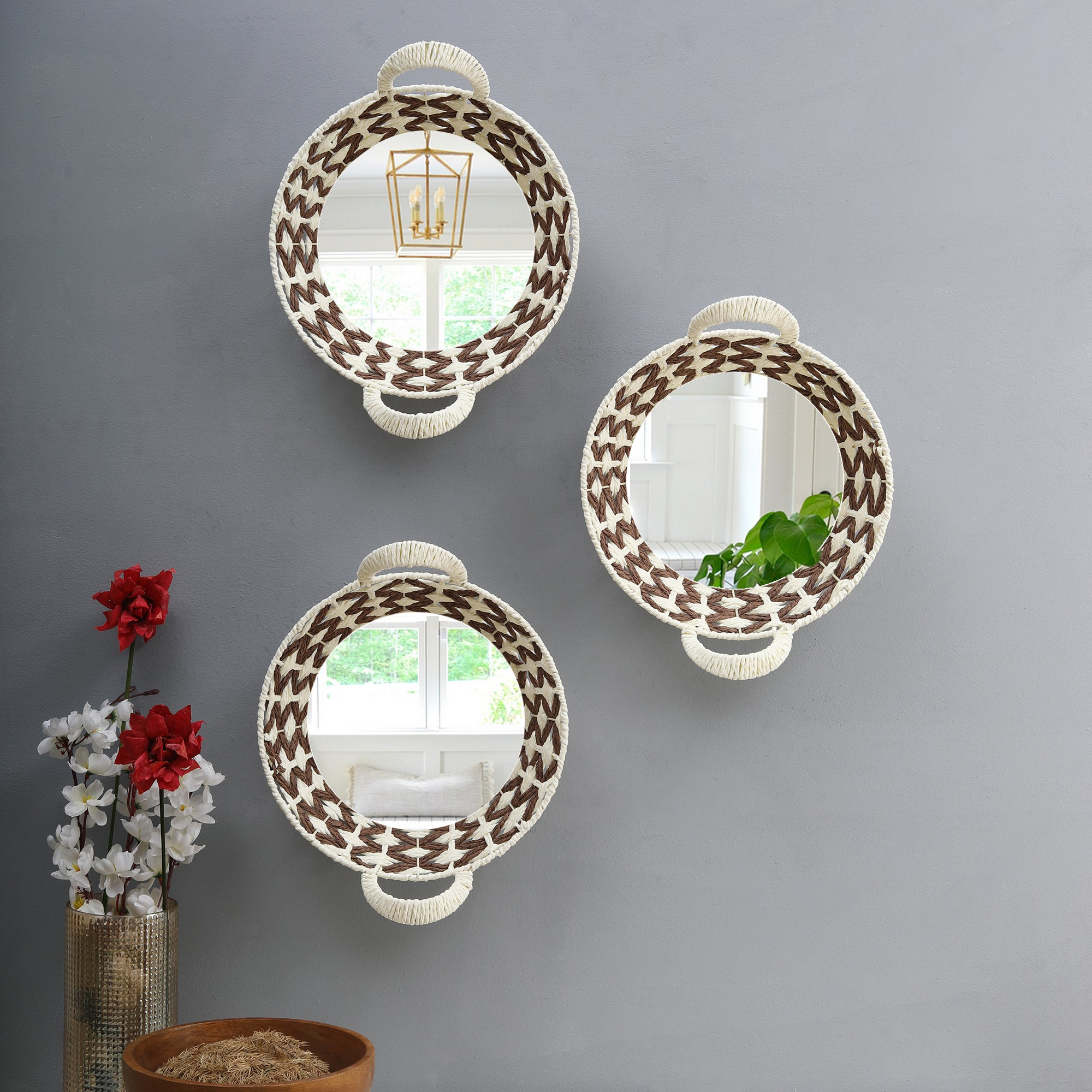 Bohemian Style Wall Mirrors (Round) - Set of 3