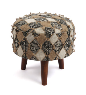 Handcrafted Contemporary Wood Ottoman (Single)