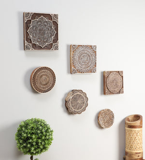 Ethnic Motifs - Handcarved Wall Hanging (set of 6)