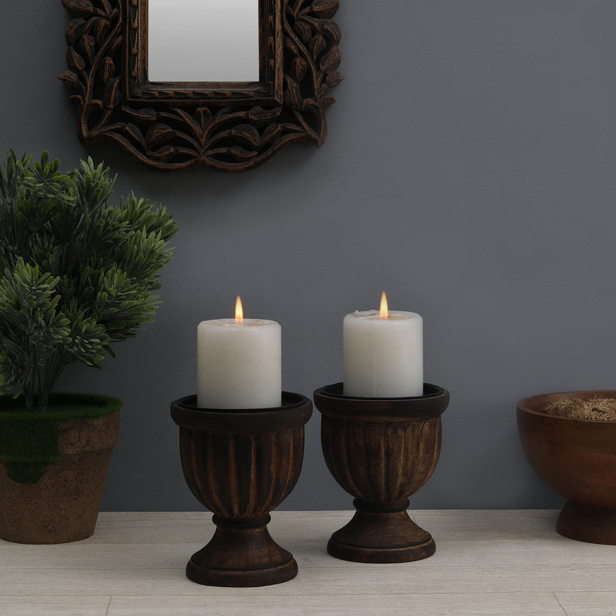 The Chalice - Handcarved Candle Stand (Single)