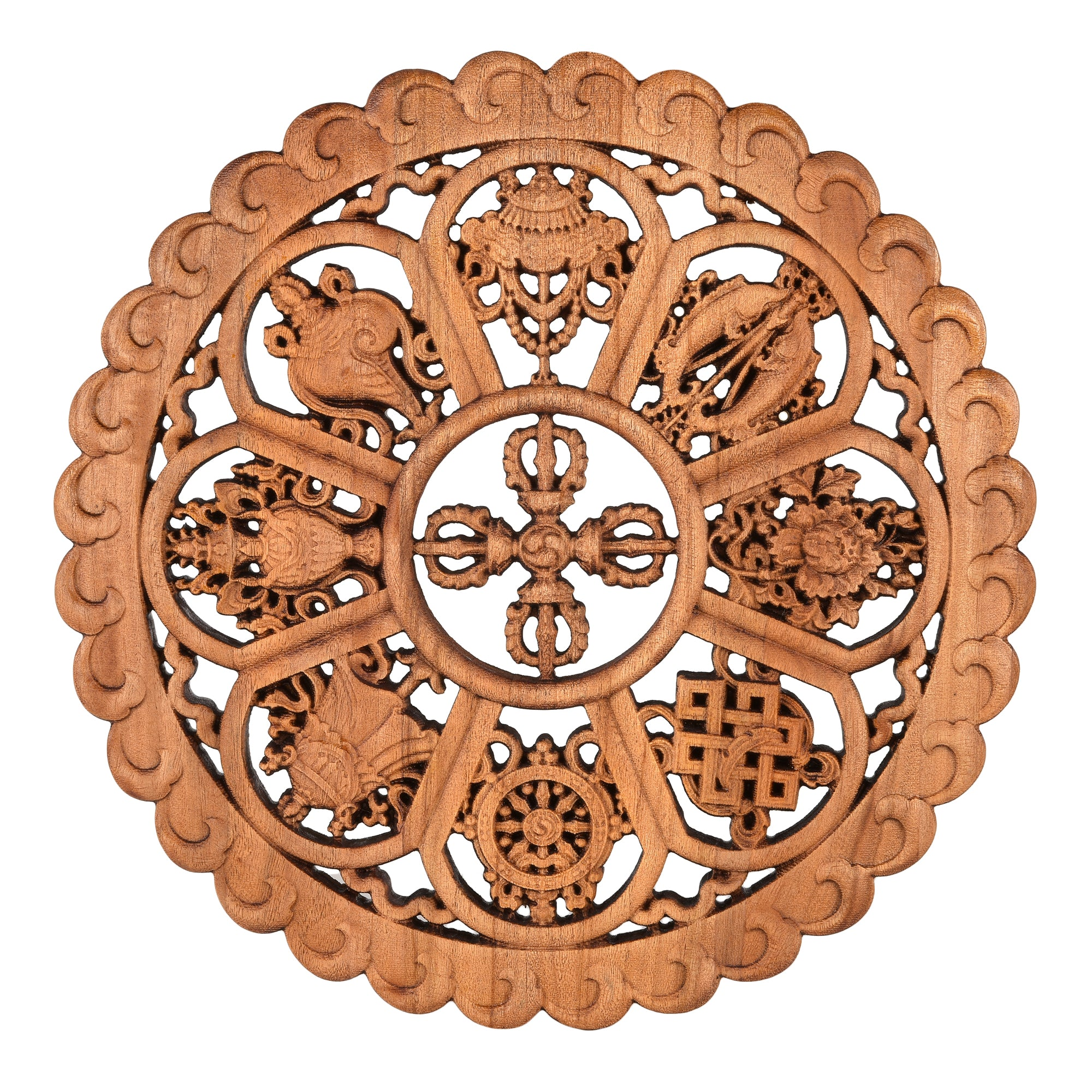 Handcarved Auspicious Symbols Wall Hanging