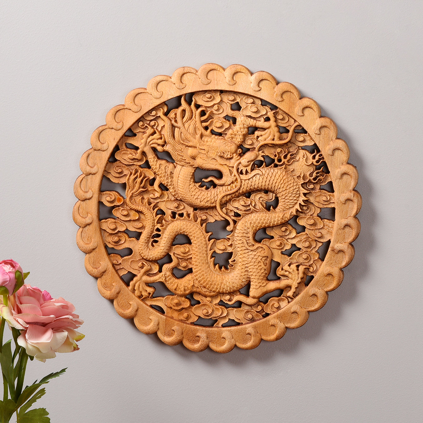 Handcarved Dragon Motif Wall Hanging