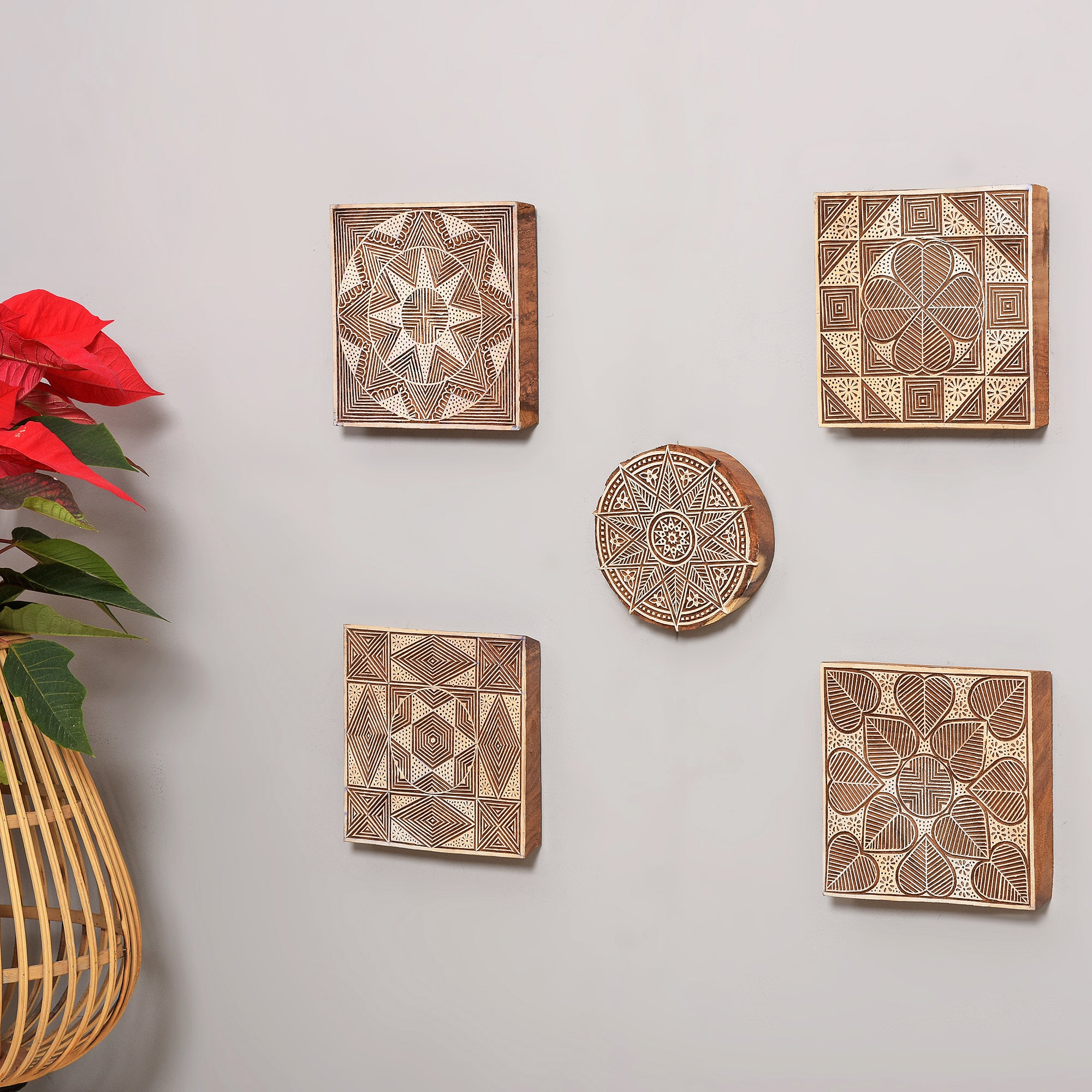 Ethnic Motifs - Handcarved Wall Hanging (set of 5)