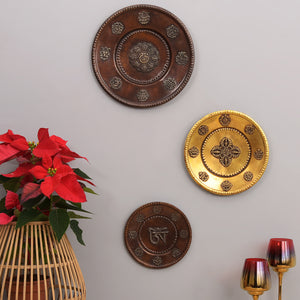 Buddhist Motifs - Rustic Wall Plate (Brown)