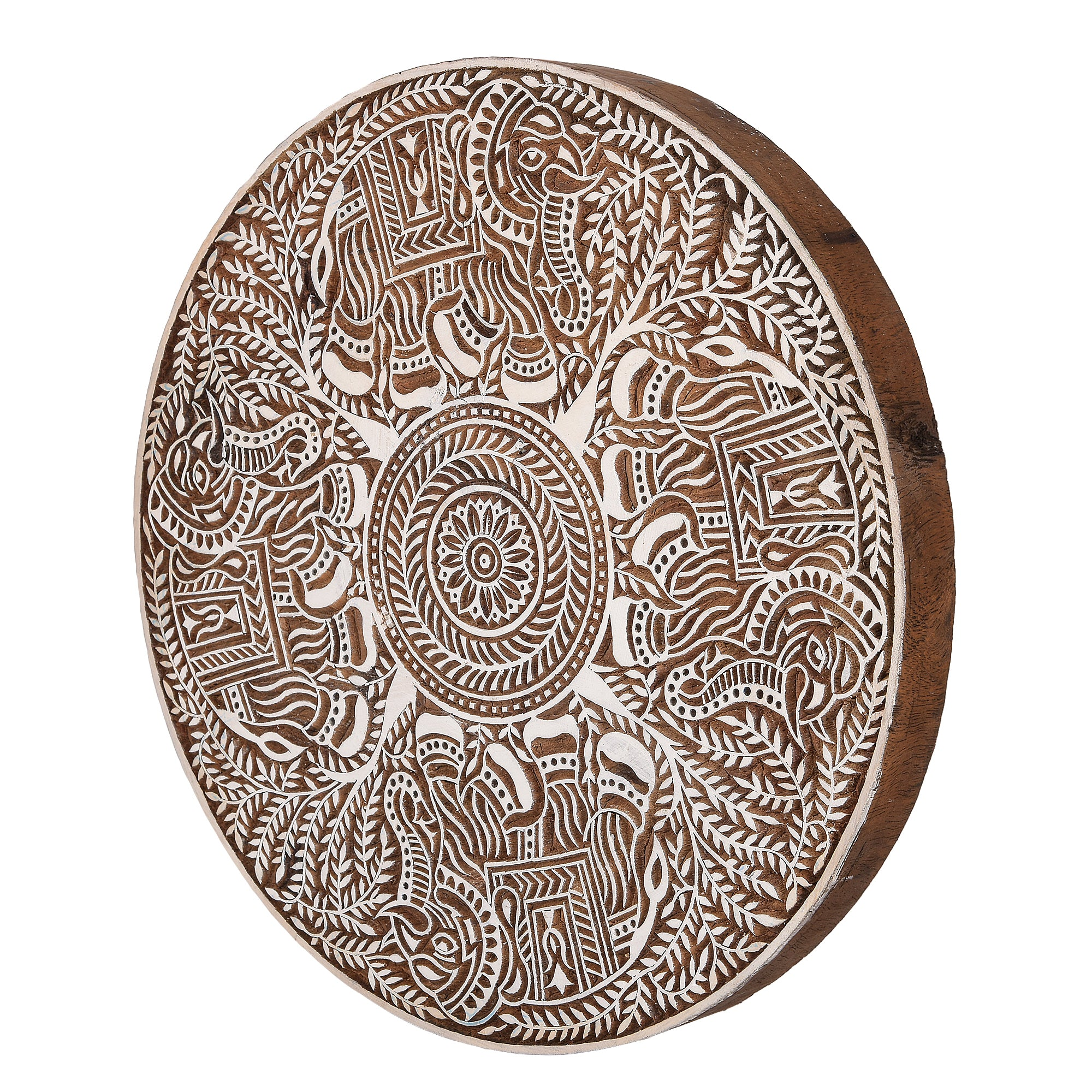 Ethnic Motifs - Handcarved Wood Wall Hanging
