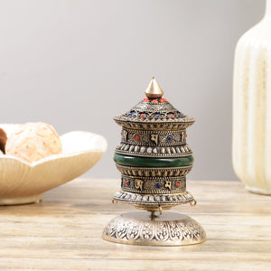 Jade Stone Buddhist Prayer Wheel - Silver Finish (Limited Edition)