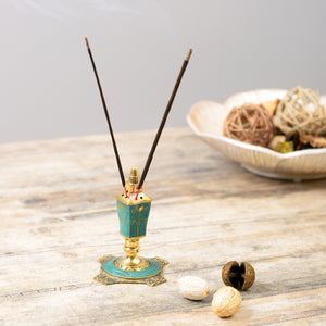 Handcrafted Stone Incense Holder - Turquoise Green