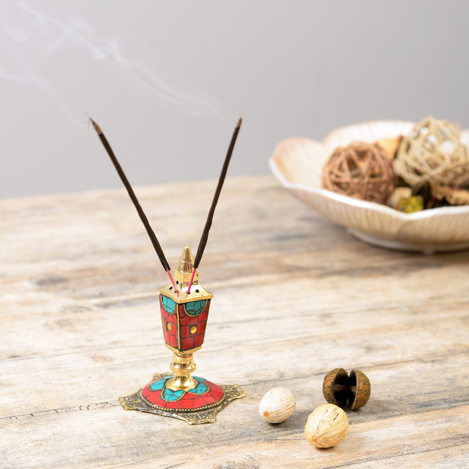 Handcrafted Stone Incense Holder - Red and Turquoise