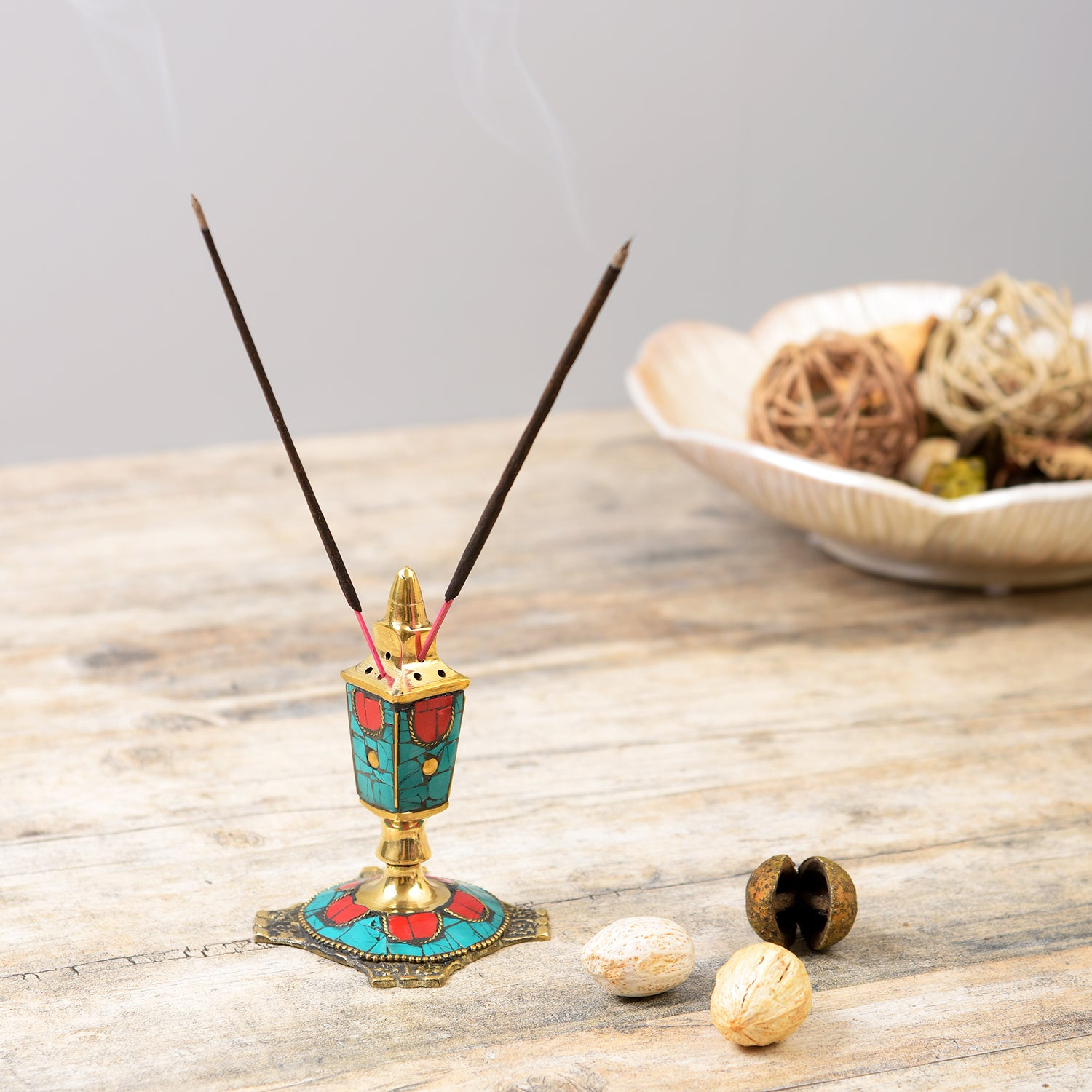 Handcrafted Stone Incense Holder - Turquoise and Red