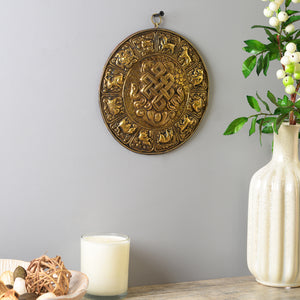 The Buddhist Calendar - Handcarved Wall Decor (Eternal Knot)