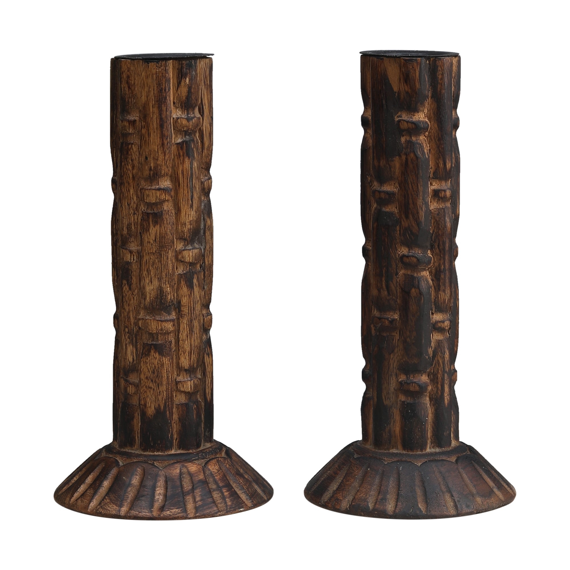 Tribal Wood Carving - Candle Stand (Single)