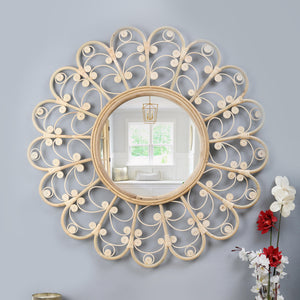 Twirly Reflections - Handcrafted Cane Wall Mirror