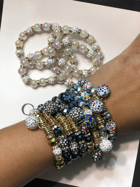 Disco Beaded Stretchy Bracelet