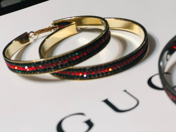 Red & Green Bling Hoop Earrings & Things