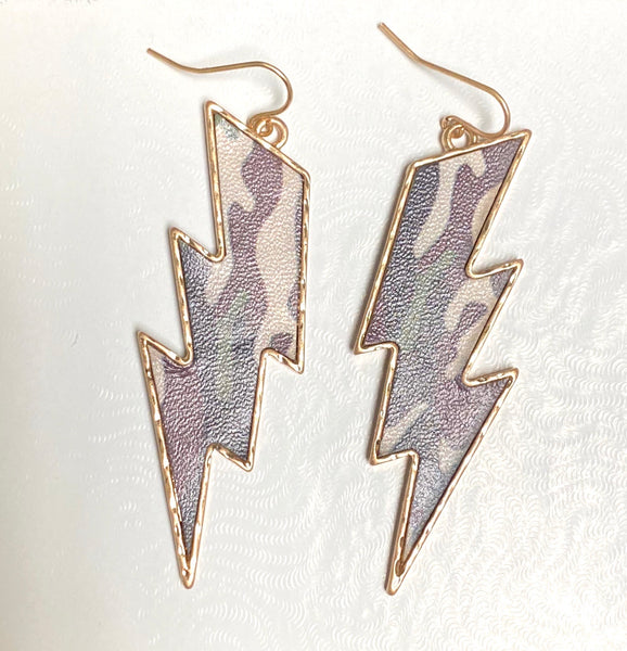 Camo Lightning Earrings