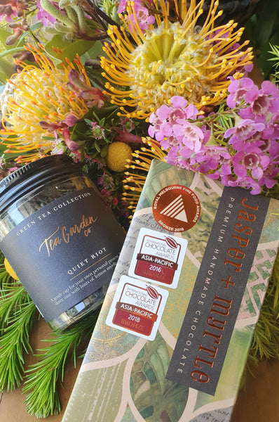 canberra made tea tea garden co canberra made chocolate native flowers hamper delivery canberra