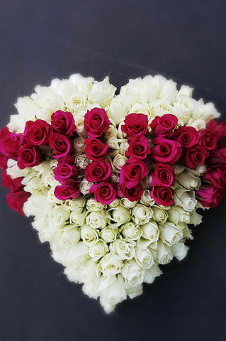 Funeral heart wreath, rose heart, canberra funeral florist
