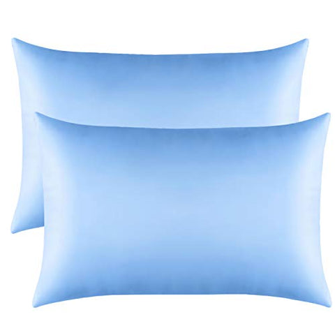 elastic cooling pillowcase blue color