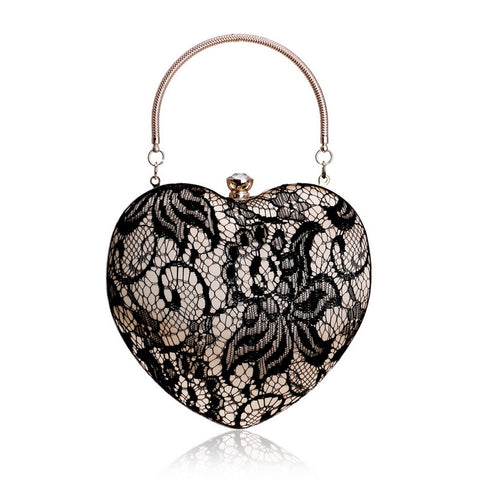 lace handbag silk prom elegant grace prom night out trendy black and white classic heart shaped shape of the heart(1)