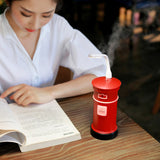 mini humidifier postbox creative aromatic therapy essence oil spa moist antidry led fan light (7)