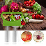 Tomato Onion Vegetables Slicer Cutting Aid Holder Guide Slicing Cutter Safe Fork