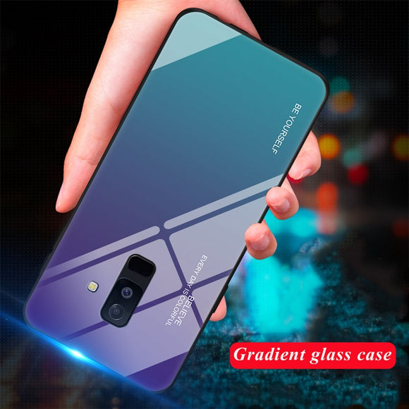 Tempered Glass Phone Case For Samsung Galaxy S8 S9 Plus Gradient Color Cover Coque