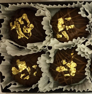 Trophy Truffles -  Blueberry Liquor Truffle with 24k Edible Gold Leaf