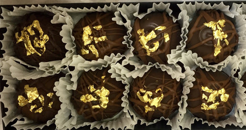 Trophy Truffles -  Dark Orange Truffle with 24k Edible Gold Leaf