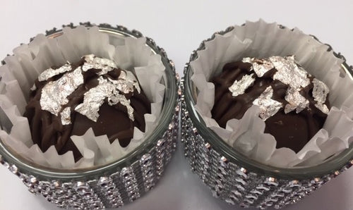 Trophy Truffles - Dark Orange Truffle with Edible Silver Leaf