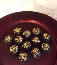 Load image into Gallery viewer, Trophy Truffles -  Blueberry Liquor Truffle with 24k Edible Gold Leaf