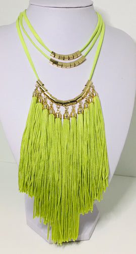 Lime Green Tassel Necklace