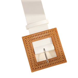 RATTAN BUCKLE WHITE BELT